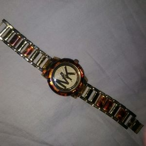 Michael Kors watch, torturous shell and gold